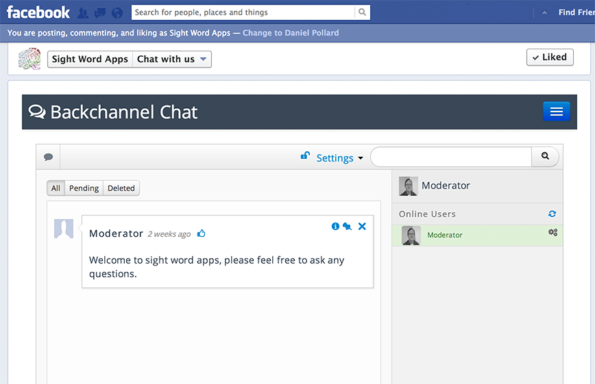 Backchannel Chat for Facebook - Chat running on a Facebook page